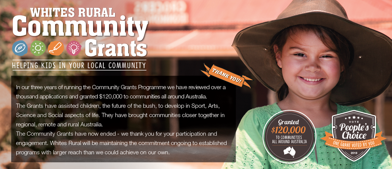 Community Grants 2018 ending and closing artwork website